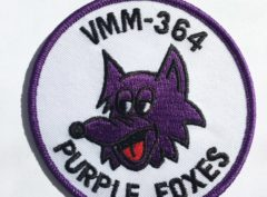 VMM-364 Purple Foxes (White Background) Squadron Patch – Plastic Backing