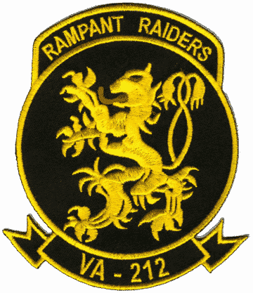 VA-212 Rampant Raiders Squadron Patch – Plastic Backing