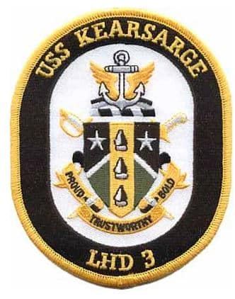 USS Kearsarge LHD-3 Patch – Plastic Backing