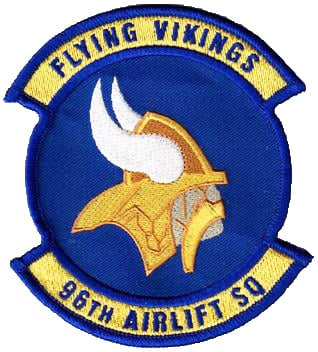 96th Airlift Squadron FLYING VIKINGS Patch – Sew On