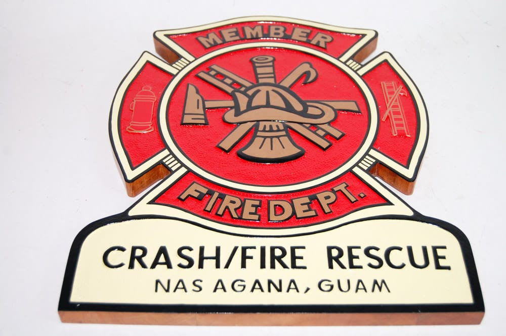 Fire Dept Shield - Crash/Fire Rescue Agana Guam Plaque
