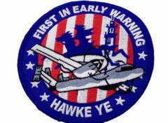 FIRST IN EARLY WARNING HAWKEYE Patch – Plastic Backing