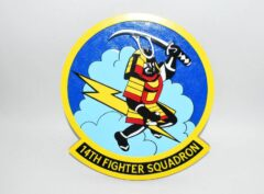 A hand crafted 14 inch plaque of the 14th Fighter Squadron Fightin Samurai.