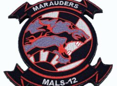 4.5 inch MALS-12 Marauders Black Patch – With Hook and Loop